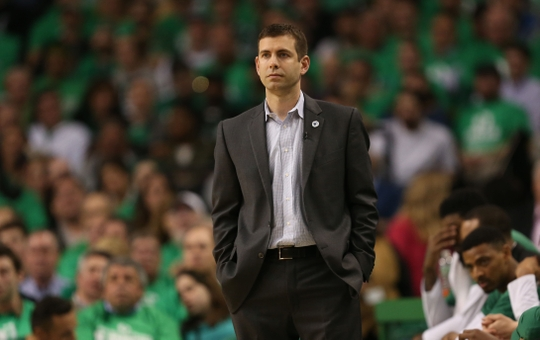 Celtics Head Coach Brad Stevens looks on from the sidelines.