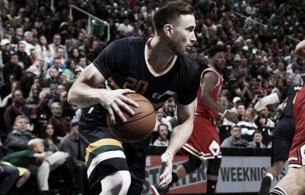 Gordon Hayward en un partido de los Utah Jazz. Fuente: NBA.com