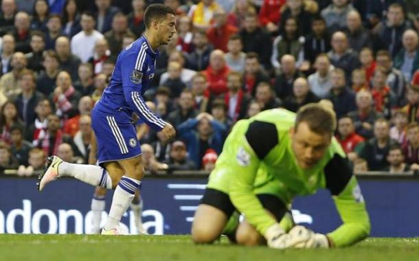 Hazard wheels away after his fine solo goal against Liverpool in midweek. (Source: Rex Features)
