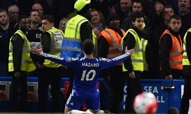 Hazard's curling finish ended the title race, in a game that descended into pandemonium