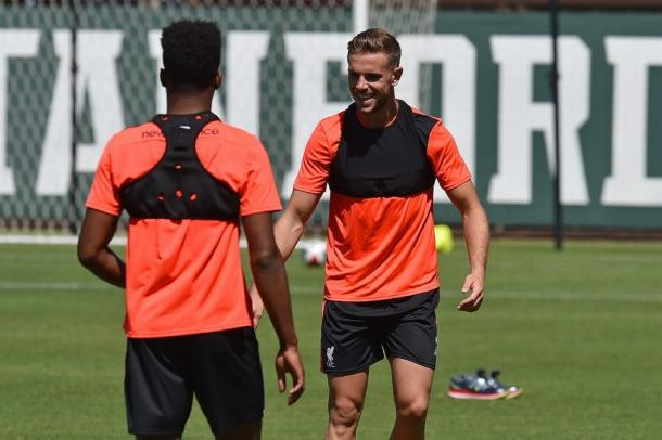 Henderson back in pre-season training with Liverpool's first-team in the US. (Picture: Daily Mirror)