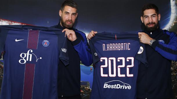 Los Karabatic tras renovar hasta 2022. Foto: Paris Saint Germain