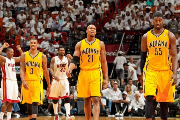 George Hill, David West e Roy Hibbert. Fonte: Issac Baldizon/Getty Images