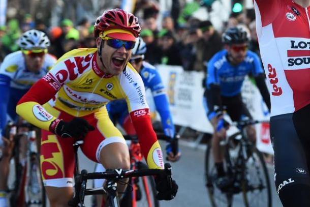 Era Antoine Demoitié, sorridente e felice dopo il successo al Tour du Finistère del 2014. Fonte: Getty Images