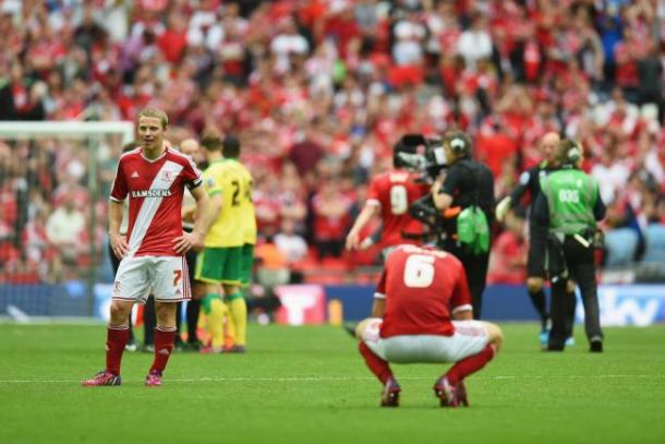 Los jugadores del Middlesbrough tras caer en la final del play-off la pasada temporada en Webley. | Foto: Bleacher Reaport