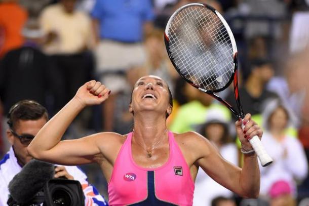 Jelena Jankovic at the 2015 Indian Wells, the last time she took a set off Simona Halep | Photo: Mark J. Terrill/Associated Press