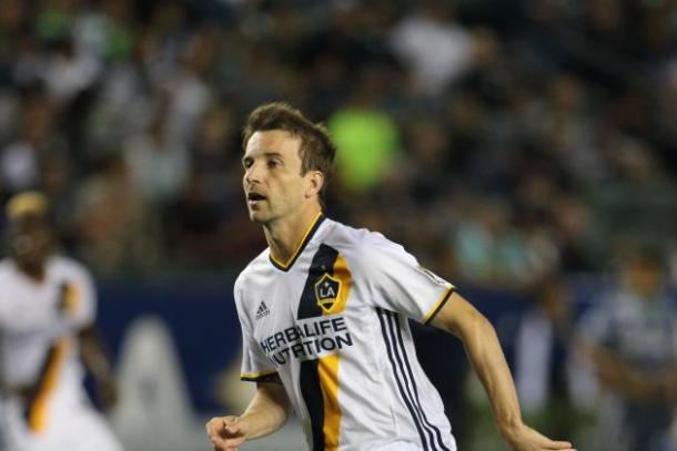 Mike Magee in his first Major League Soccer game back for the LA Galaxy scored two goals and assisted on another. Photo provided by USA TODAY Sports.