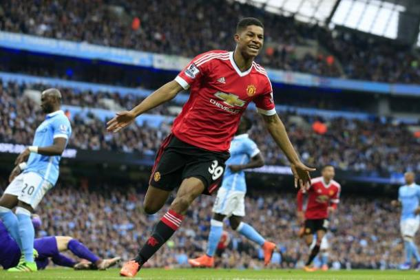 Rashford celebrates scoring the winner in his first Manchester derby | Photo: Getty