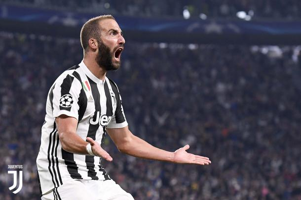 Higuaín celebrando el gol ante el Olympiacos en el partido de ida / Foto: Juventus
