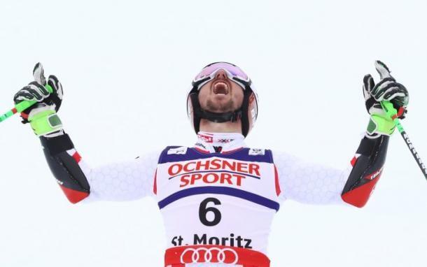 Marcel Hirscher al traguardo del Gigante di St Moritz   Photo: Getty