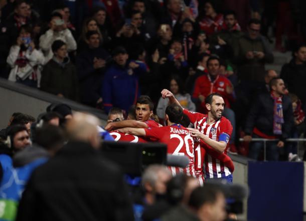 Los jugadores del Atlético de Madrid celebrando un gol a la Juventus   Foto: Atlético de Madrid