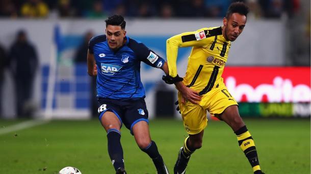 Amiri e Aubameyang nel 2-2 dell'andata tra Borussia e Hoffenheim. | Fonte immagine: Goal.com