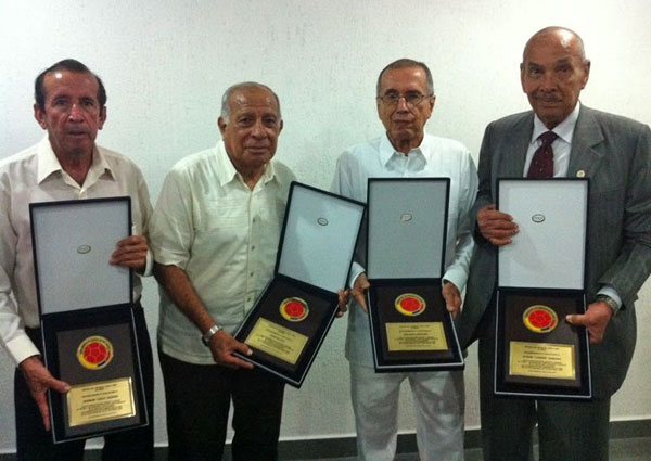 De izquierda a derecha: Germán Aceros, Marcos Coll, Rolando Serrano, Efraín Sánchez I Foto: FCF