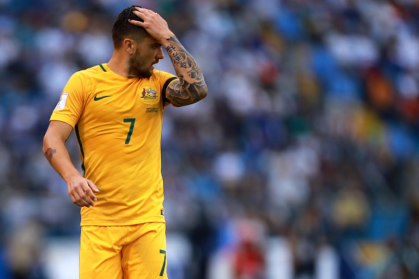 Reflexo do jogo: lamentação australiana pelas chances perdidas (Foto: Hector Vivas/LatinContent WO)