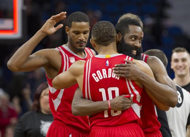 Every player on the Houston Rockets are all smiles and are in a good position through a quarter of the season. Photo: AP Photo/Paul Battaglia