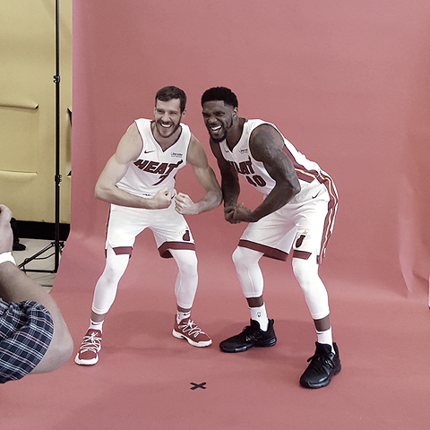 Goran Dragic y Udonis Haslem | Foto: NBA