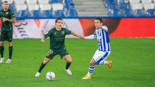 Imagen del partido entre Huesca y Real Sociedad. Fuente: SD Huesca