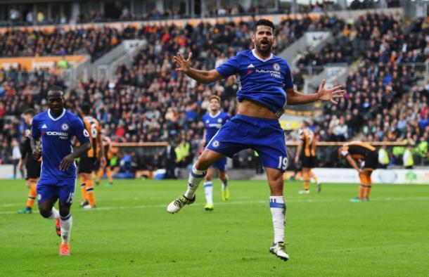 L'esultanza di Costa dopo il goal (e la vittoria) sull'Hull City | Foto: Getty Images