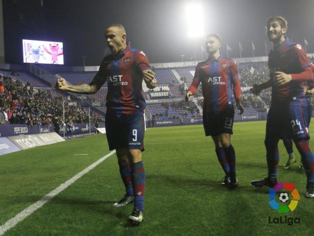 Primer y único tanto del Levante frente al Lugo/ Fuente: LaLiga.es