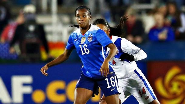 USWNT striker Crystal Dunn has been lighting up the tournament with her six goals scored as of now. Photo provided by Associated Press.