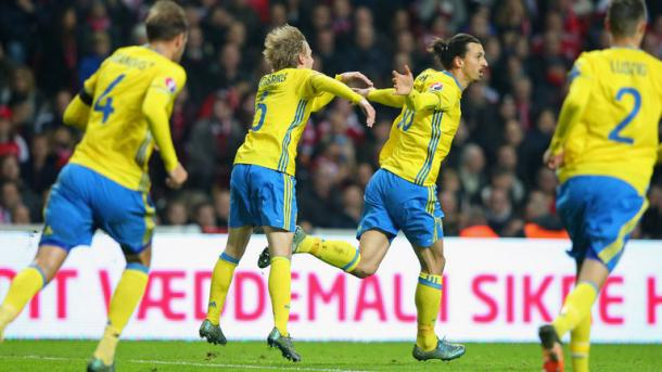 Zlatan Ibrahimovic (second from right) celebrates scoring against Denmark | Photo: Sky Sports