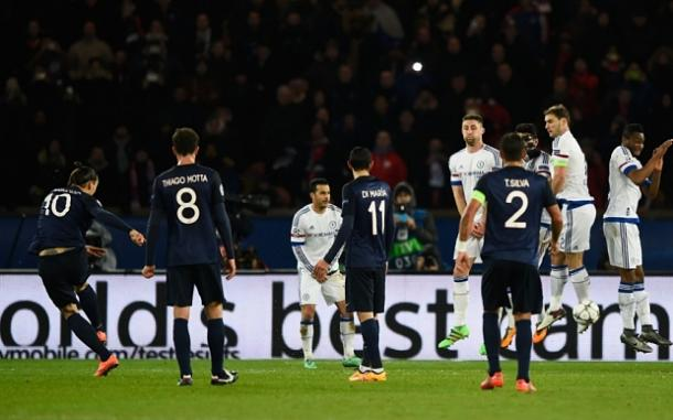Ibrahimovic blasts his free kick onto Mikels leg which led to the deflected opener