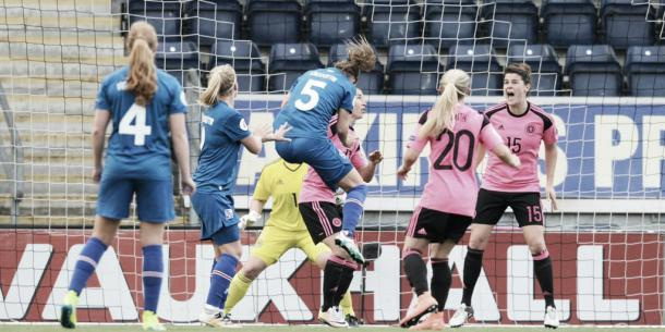 Scotland concede against Iceland last Friday. Photo: Twitter @ScottishFA