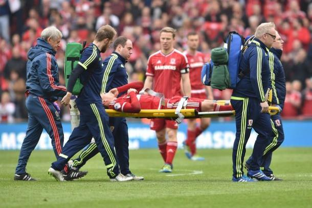 Gaston Ramirez is stretchered from the field against Brighton | Photo: Gazette