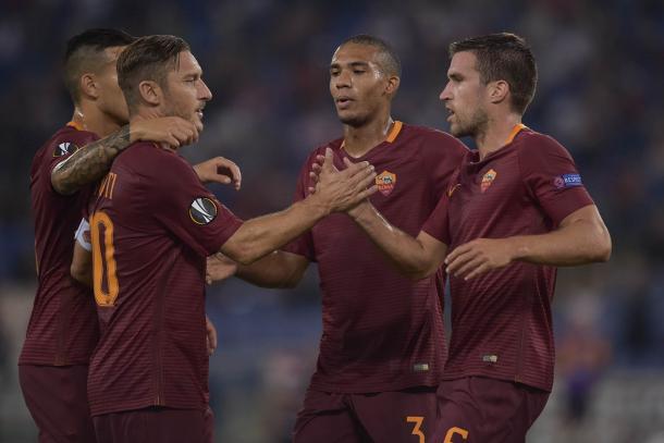 La Roma celebra uno de sus goles ante el Astra Giurgiu | Fuente: asroma.com