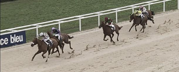Seisme luchando con Tassili n´ajjer, dandole al team Imaz su cuarta victoria del día. / Fuente: Hipodrome de Pau.