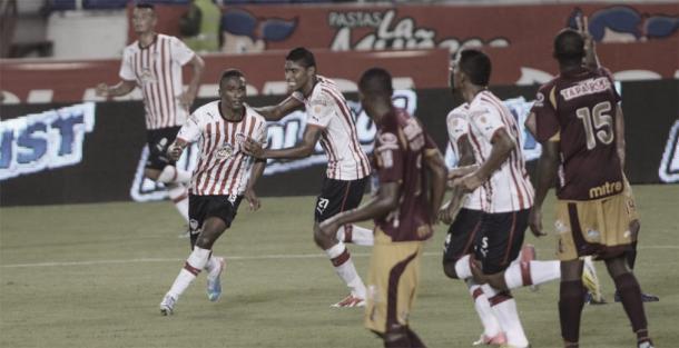 Celebración del gol del Junior | Fuente: El Heraldo.