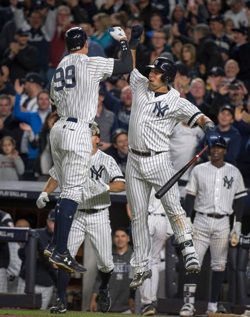 Aaron Judge celebrates with Gary Sanchez after hitting a two-run home run against the Minnesota Twins |Source - Newsday / J. Conrad Williams Jr.|