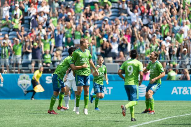 Chad Marshall set Seattle on their way to a big win | Source: Jane Gershovich-Seattle Sounders FC