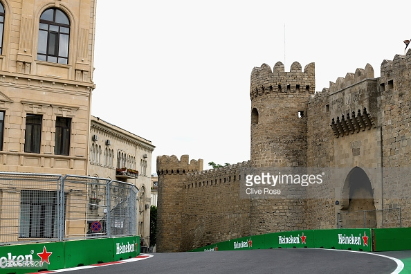 Looking back at the narrowest section of track on the F1 calendar, the Turn 8 Castle. (Image Credit: Clive Rose/Getty Images)