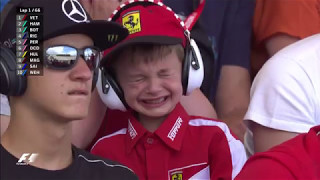 Thomas's tears were soon replaced by a beaming smile, when... (Image Credit: Formula One)