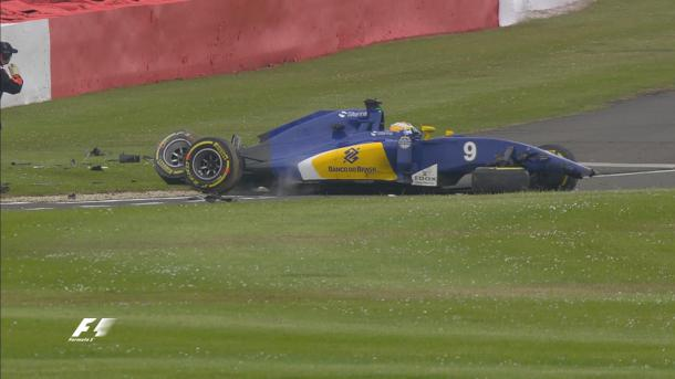 Although it looked dramatic, Marcus Ericsson walked away unhurt from his FP3 crash (Image credit: Formula One)
