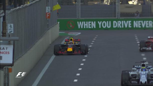 Daniel Ricciardo clipped the wall at Turn 6, and damaged the left rear. (Image Credit: @F1 Twitter)