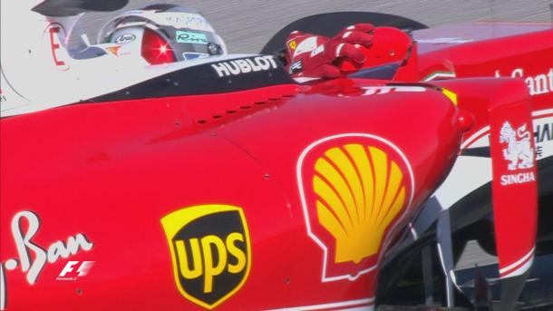 After an off at T19, Sebastian Vettel's mirror tried to break free, but he wouldn't let it. (Image Credit: Formula One)