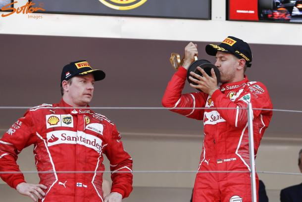 Raikkonen's own pace on the ultra-softs cost him the race, not Ferrari team orders. (Image Credit: Sutton Images)