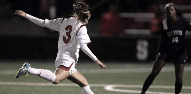 Rachel Daly taking a shot for St. John's University | Source: St. John's Athletics