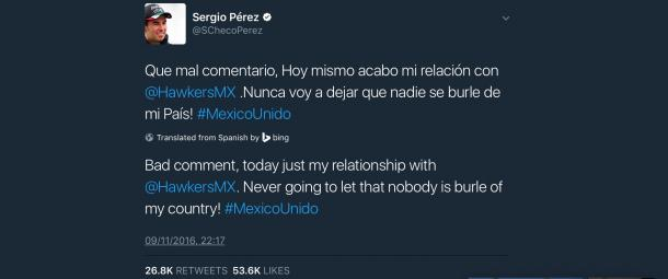 After the offensive tweet was deleted, Perez informed his followers of the decision. (@SChecoPerez Twitter)