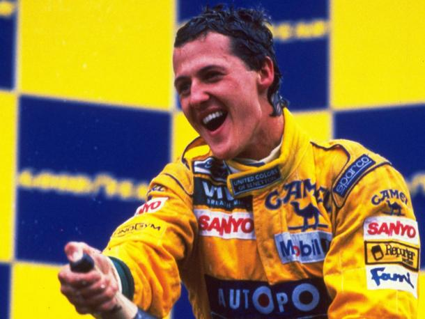12 months on from his debut, Schumacher claimed the first of 91 wins. (Image Credit: car-throttle.com)