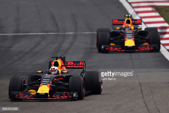Verstappen's move for second on Ricciardo at Turn 6 would later prove crucial as it secured home a podium finish from P17. (Image Credit: Lars Baron/Getty Images)