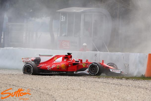 Ferrari's day ended early after Raikkonen's crash, but still completed 53 laps and was third quickest. (Image Credit: Sutton Images)