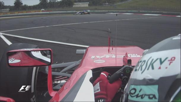 A lack of grip, following the overnight rain contributed to Sebastian Vettel's harmless spin. (Image Credit F1.com)