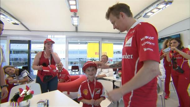 He and his Parents were taken into the paddock and he met Kimi Raikkonen. (Image Credit: Formula 1)