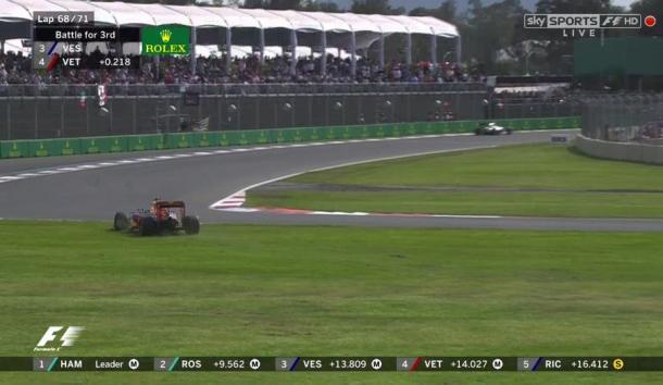 It was when Max Verstappen cut across the grass at T1 with four laps to go that Vettel lost the plot. (Image Credit: Sky Sports F1)