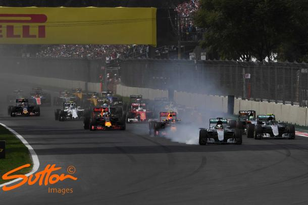 By locking up, Hamilton cut the corner and gained an advantage and should've been penalised. (Sutton Images)