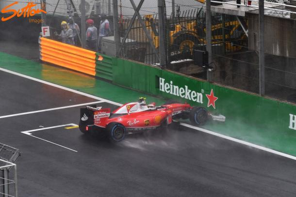 Kimi Raikkonen's crash was not only terrifying, but it brought out the first red-flag. (Sutton Images)