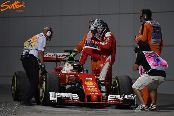 Sebastian Vettel, after a strong FP2, suffered yet another gearbox failure, his fourth this season. (Image Credit: Sutton Images)